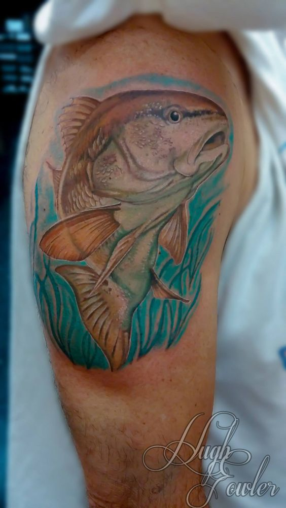 redfish tattoo tattoos by hugh pinterest shops we and cool fish. Black Bedroom Furniture Sets. Home Design Ideas