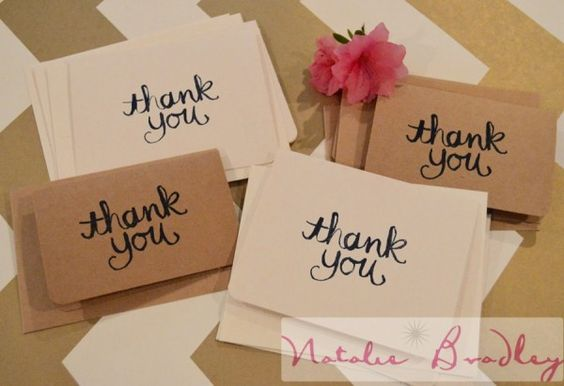 Handmade Cream or Kraft and Navy Blue Thank You Card| Stampin Up! | Natalie Bradley Events | Southern Event Planning | Event Arts and Crafts