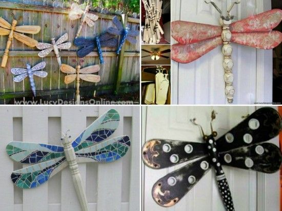 Dragonfly Art made from Ceiling Fan Blades and Table Legs