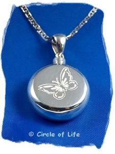925 Sterling Zilveren crematie hanger met gegraveerde vlinder. Artikel Z026-3