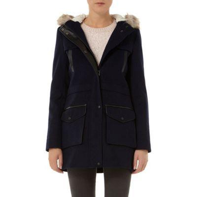 Dorothy Perkins Navy longline duffle coat- at Debenhams.com ...