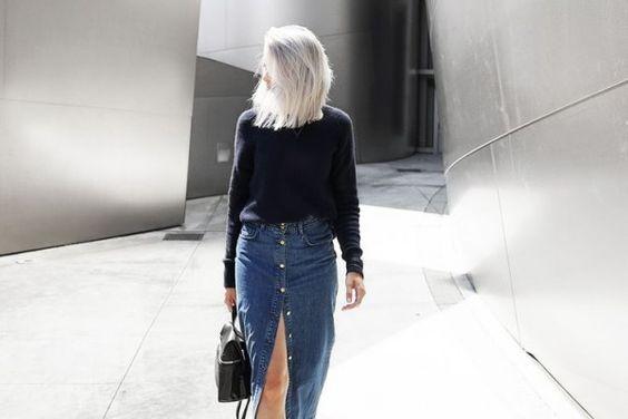 ~ como usar saia jeans - Modices