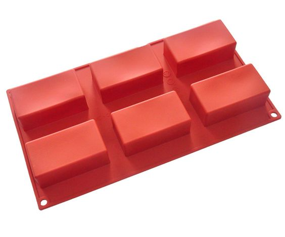 Four-C 6-Cavity Square Soap Mold Cake Ice Silicone Mould Tray For Cake Decorate