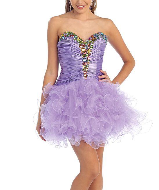 Lilac Rhinestone Ruffle Strapless Dress &amp Shawl  Ruffles Dresses ...
