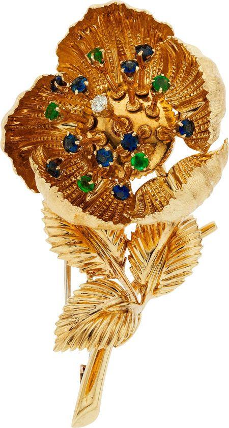 Diamond, Sapphire, and Emerald Flower Brooch