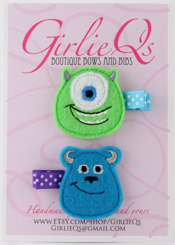 Monster's Inc Felt Hair Clip Clippie 2-pack Embroidered Mike Wazowski Sulley Sully Disney Pixar Monster's University by GirlieQs on Etsy https://www.etsy.com/listing/155352814/monsters-inc-felt-hair-clip-clippie-2
