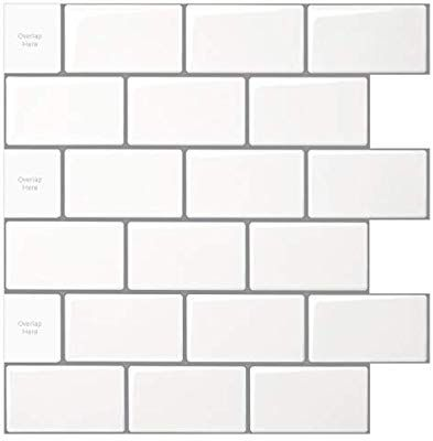 10 Sheet Peel And Stick Tile For Kitchen Backsplash 12x12 Inches White Subway Tile With Grey Grout Stick On Tiles Stick Tile Backsplash Peel And Stick Tile