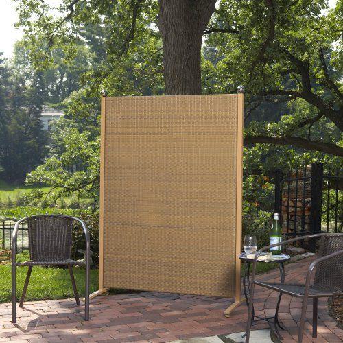 Versare outdoor wicker resin room divider privacy for Portable patio privacy screens