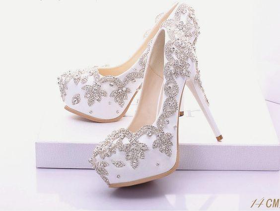 White Silver Rhinestone Wedding Prom Shoes