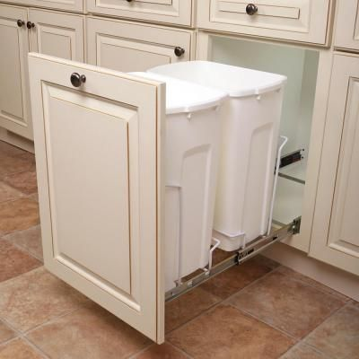 Knape Vogt 14 375 In X 22 In X 18 813 In 35 Qt In Cabinet Double Soft Close Bottom Mount Pull Out Trash Can Scb15 2 35wh The Home Depot Pull Out Trash Cans Kitchen Design Diy