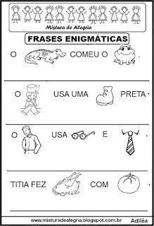 Frases Enigmaticas Para Alfabetizacao Imprimir E Colorir Em 2020