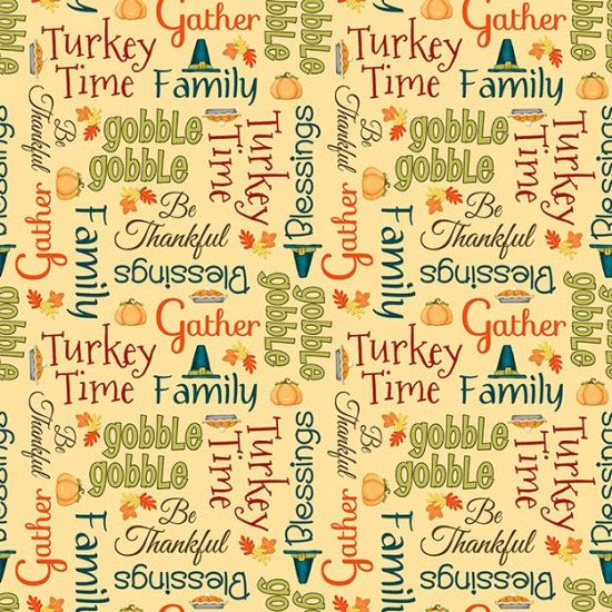 Henry Glass. Give Thanks. Words Cream  BTY  by TheFabricCobbler