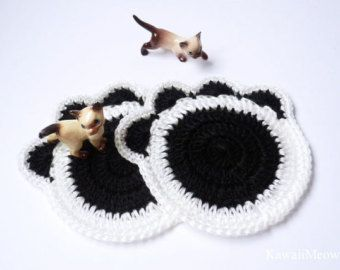Crochet Doily Coaster Set - Cat Paw 2 pcs - White x Black