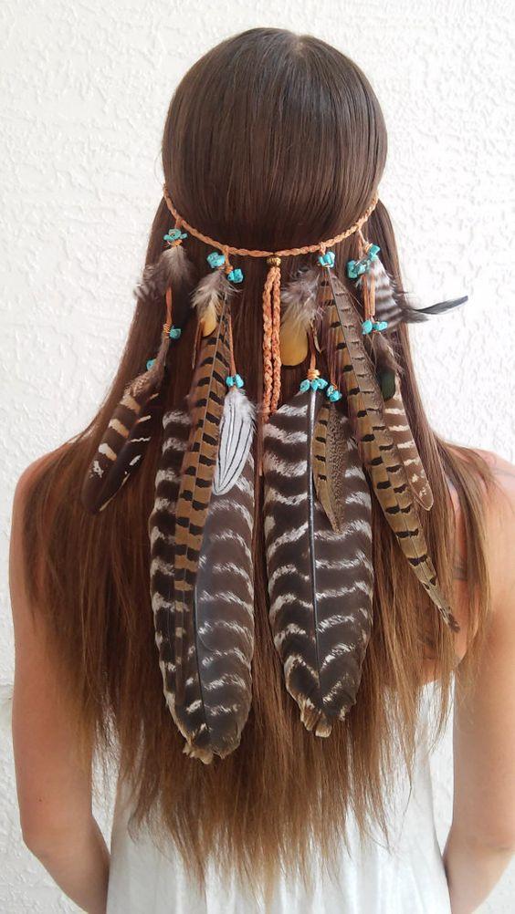 Boho Prinzessin Feder Stirnband Native American von dieselboutique