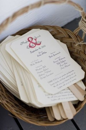 Wonderful idea! DIY wedding program using leftover invites - turn them into a paddle fan!