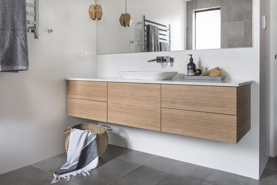 Red Lily Renovations Bathroom. Wood vanity. Vanity in Laminex Sublime Teak with push draws and ...