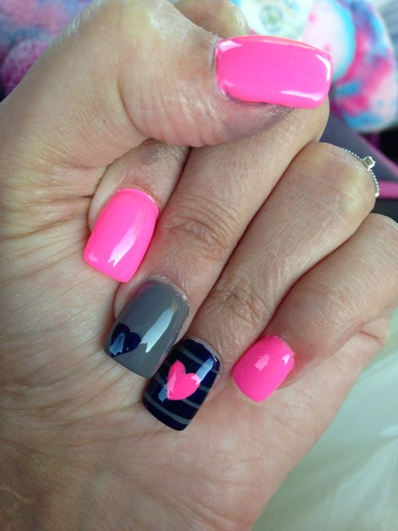 Pink grey blue heart nails