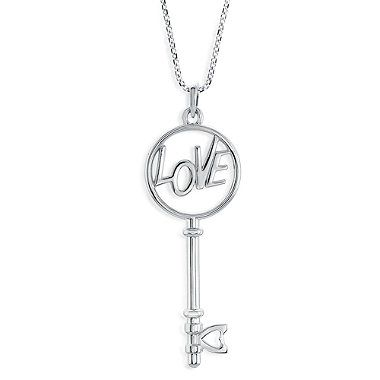 """Let the Love Is The Key® Circle Pendant Necklace be a thoughtful reminder of the power love can bring to opening new doors in your life. Nestled in the key's handle is the word """"love"""", while the tip of the key features a heart."""