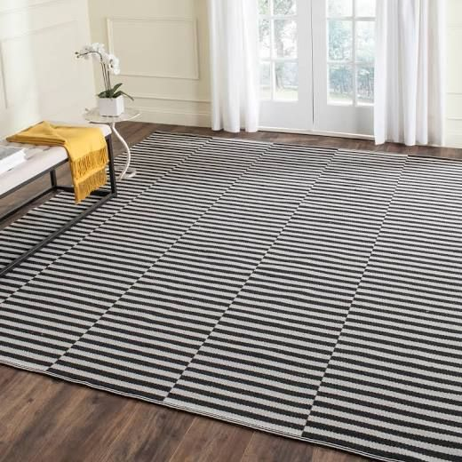Black And White Striped Rug 9x12 Grey Cotton Rug Cotton Area