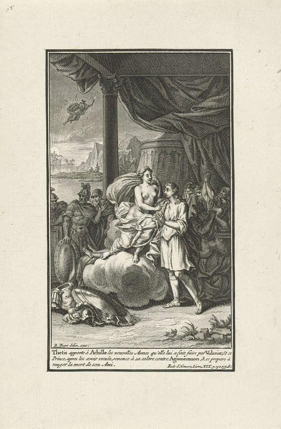 anoniem | Thetis overhandigt Achilles zijn nieuwe wapenrusting, workshop of Bernard Picart, 1710 | Thetis brengt haar zoon Achilles zijn nieuwe wapenrusting, die Vulcanus op haar verzoek voor hem vervaardigde. Nu kan hij de dood van zijn vriend Patroclus wreken. In de marge een onderschrift in het Frans.