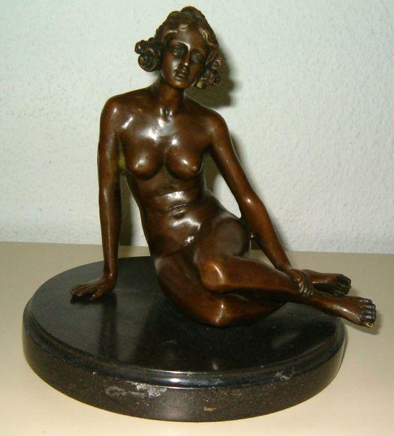 Antiker Bronze Akt  ( Mädchen sitzend )  Einzelstück jetzt zuschlagen !