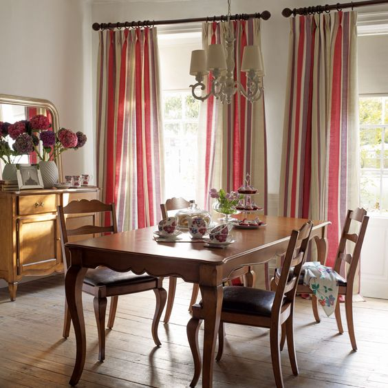 Curtains Ideas curtain poles laura ashley : Lovely dining room using Laura Ashley Eaton Stripe Linen Cotton ...
