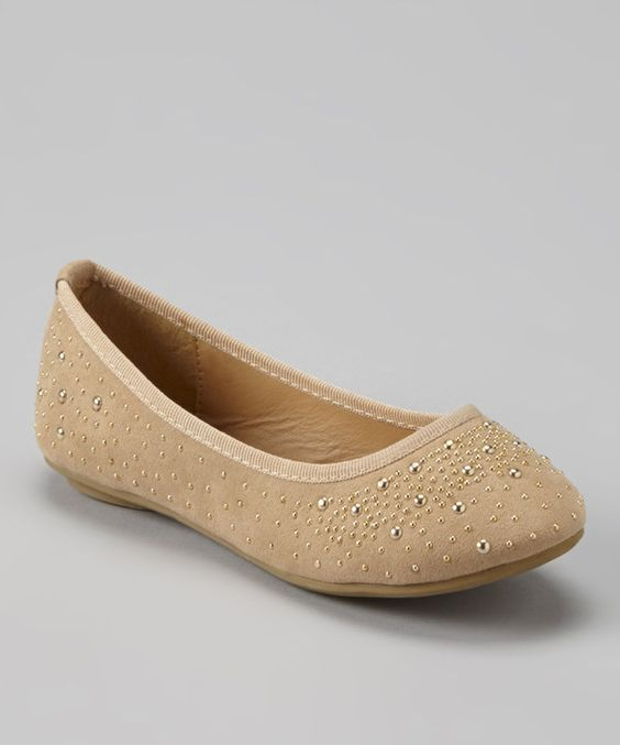 Look what I found on #zulily! Tan & Gold Studded Flat by Anna Shoes #zulilyfinds