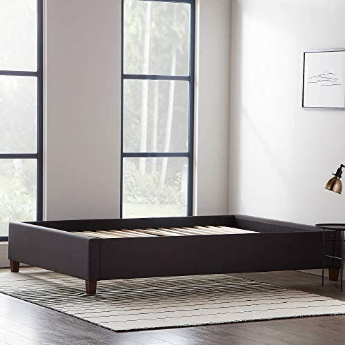 Amazon Com Lucid Upholstered Bed With Slats Linen Inspired Fabric No Box Spring Required In 2020 Upholstered Platform Bed Platform Bed Bed Slats