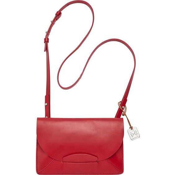 Skagen Nilssson Crossbody (255 CAD) ❤ liked on Polyvore featuring bags, handbags, shoulder bags, leather handbags, red, white leather handbags, leather shoulder handbags, crossbody purse, red leather purse and leather man bag