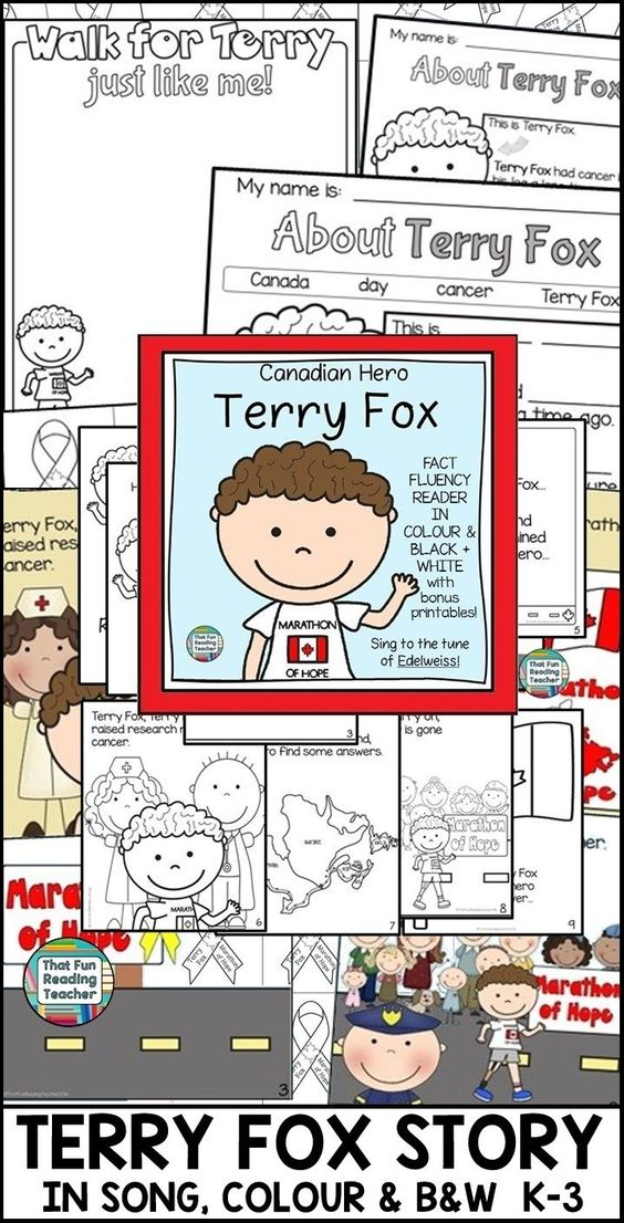 Story of Canadian Hero, Terry Fox, told in song. K-3 SocSt, Lang, Music $