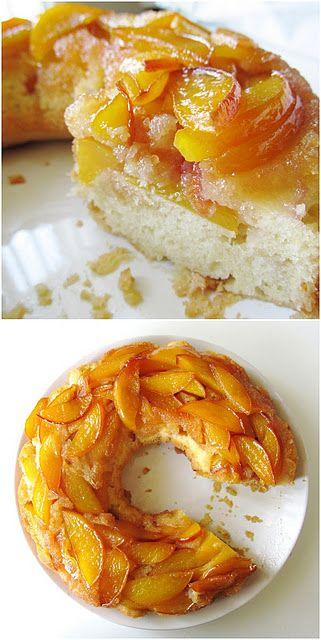 Upside-down nectarine cake .... yummmmmmmm