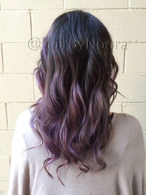 Lilac balayage lavender purple hair ombré haircut waves style Purple Hair