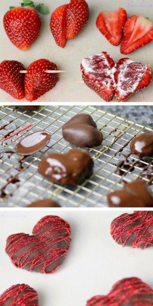 Hartjes van aardbeien en chocolade