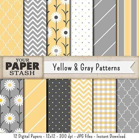 Gray & Yellow Digital Paper Chevron Striped by YourPaperStash