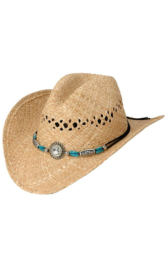 M&F Turquoise and Large Crystal Crushable Hat | Cavender's