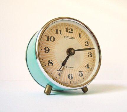 What Home Means to Me: vintage aqua alarm clock