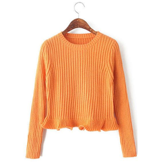 Orange Solid Color Ribbed Knit Round Neck Ruffle Hem Sweater ($26) ❤ liked on Polyvore featuring tops, sweaters, orange, rib knit sweater, ribbed knit crop top, round neck crop top, orange sweater and orange crop top