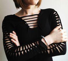 Como fazer blusa com tiras nas mangas
