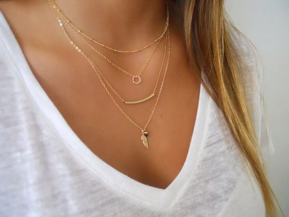 Delicate set of 4 Gold Necklaces; Layered Gold Filled ...