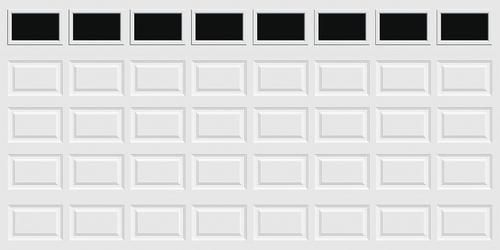 Ideal Door Traditional 16 X 8 White Insulated Garage Door With Windows R Value 6 5 Garage Door Windows Window Insulation Exterior Doors