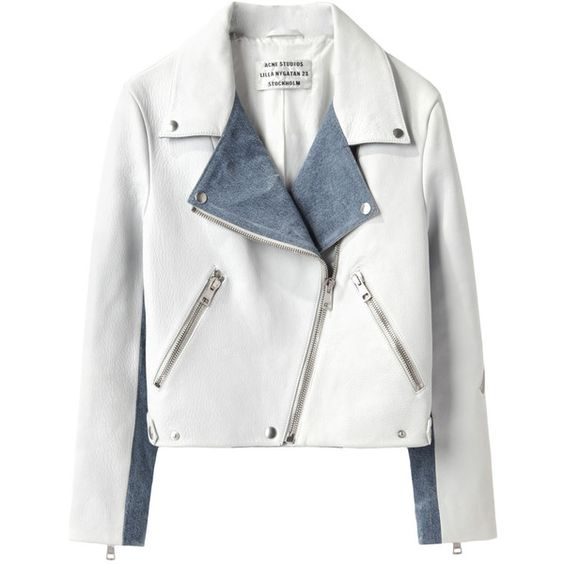 Acne Studios Rita Leather Jacket (€1.045) ❤ liked on Polyvore featuring outerwear, jackets, coats, coats & jackets, white jacket, leather biker jacket, white cropped jacket, zip front jacket and leather jacket