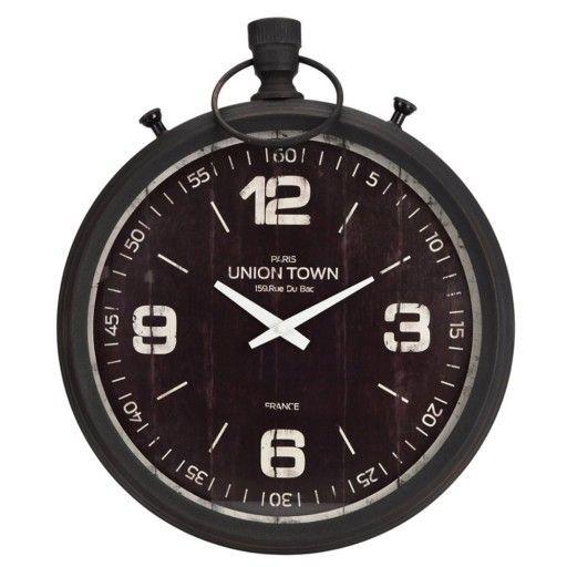 Duzy Zegar Scienny Retro Czarny Metalowy Stoper 7174900608 Oficjalne Archiwum Allegro Clock Wall Clock Uniontown