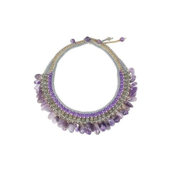 NOVICA Amethyst and Labradorite Artisan Crafted Crocheted Choker (64 CAD) ❤ liked on Polyvore featuring jewelry, necklaces, choker, purple, choker necklace, crochet necklace, crochet choker, macrame necklace and novica