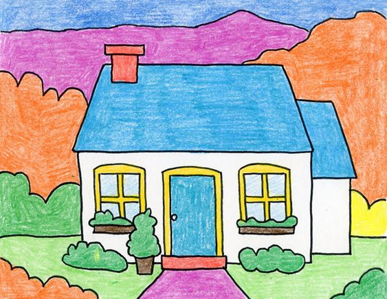 Cara menggambar rumah untuk anak SD kelas 1