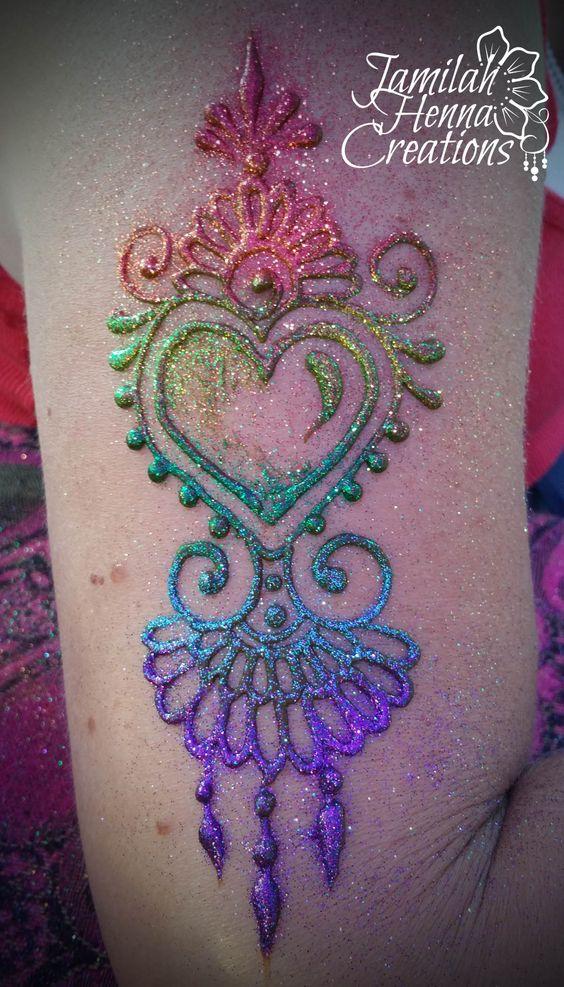 rainbow glitter heart henna www.jamilahhennacreations.com