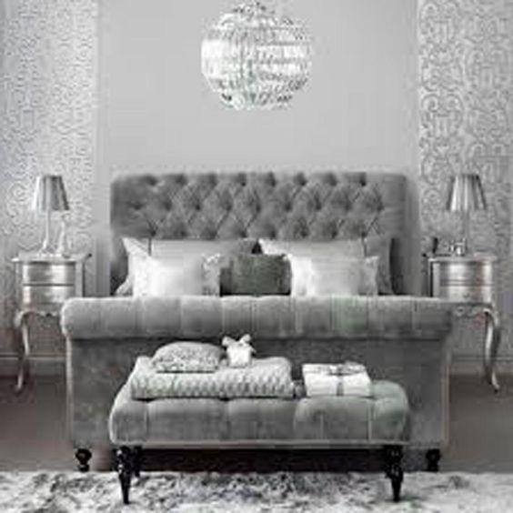 Dove Gray Home Decor ♅ Velvet Tufted Grey Bed