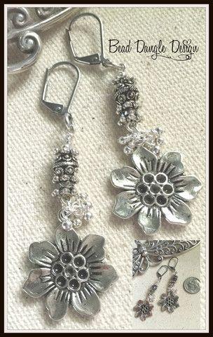 Floral Pewter Beaded Earrings #156