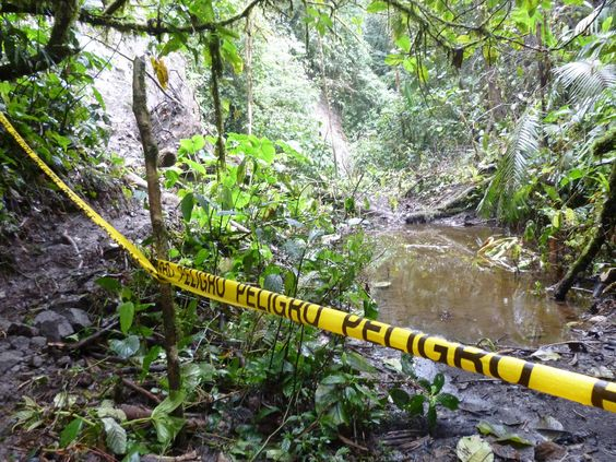 A yellow tape prevents hikers to proceed further to get to San Rafael waterfalls