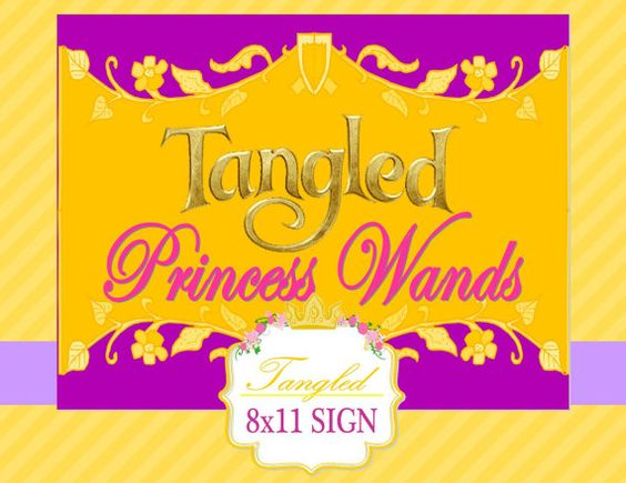 Tangled Party  Disney Princess Party  SIGN  por KROWNKREATIONS