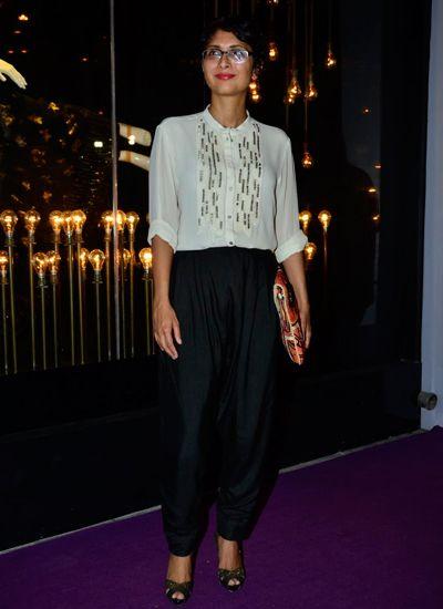 Kiran Rao in Rohit Gandhi + Rahul Khanna blouse with a black pants